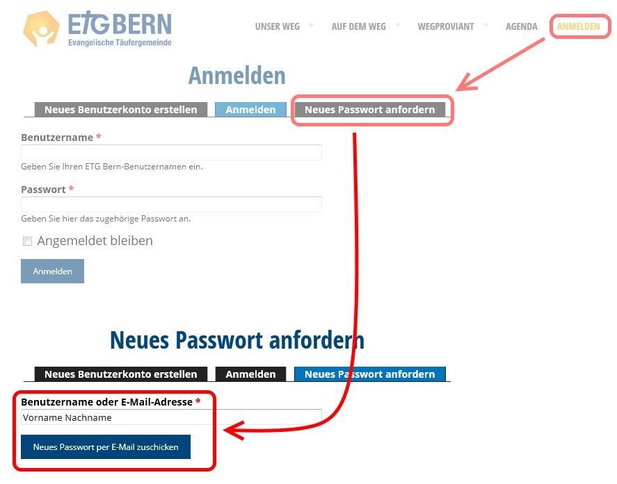 Anleitung zum Passwort-Zurücksetzen